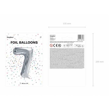 Ballon en aluminium numéro 7 86cm argent