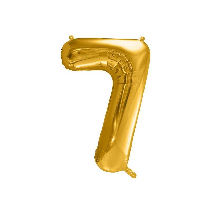 Ballon en aluminium numéro 7 86cm doré