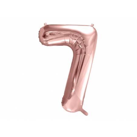 Ballon Feuille numéro 7 86cm or rose