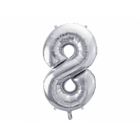 Ballon en aluminium numéro 8 86cm argent