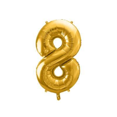 Ballon en aluminium numéro 8 86cm doré