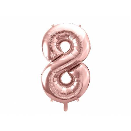 Ballon Feuille numéro 8 86cm or rose