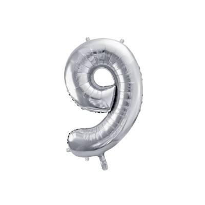 Ballon d'aluminium numéro 9 86cm argent