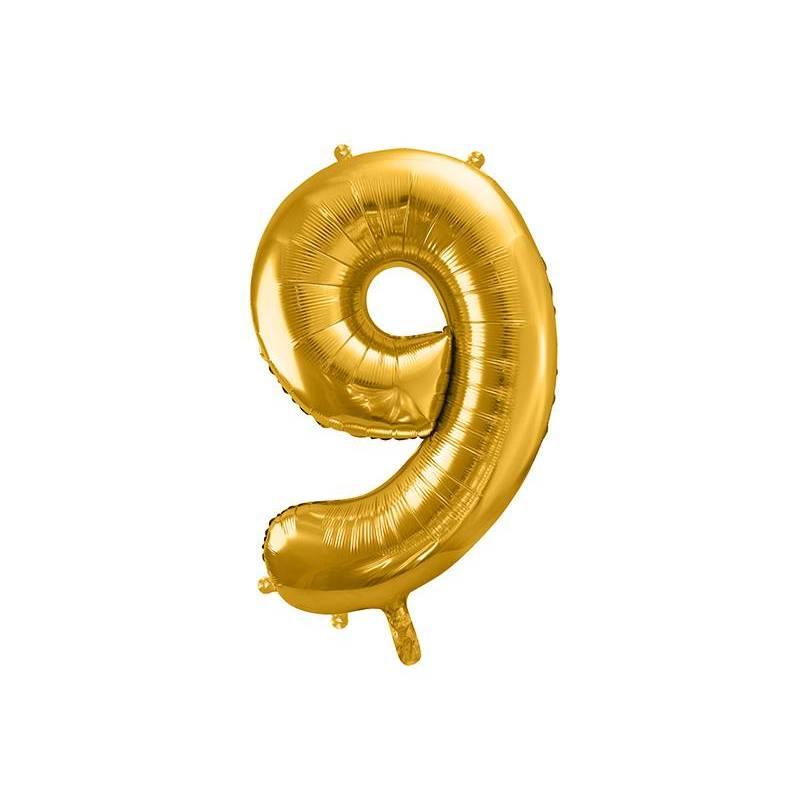 Ballon en aluminium numéro 9 86cm doré