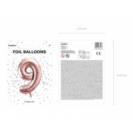 Ballon en aluminium numéro 9 86cm or rose
