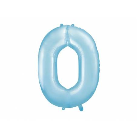 Foil Ballons Number 0 86cm bleu clair