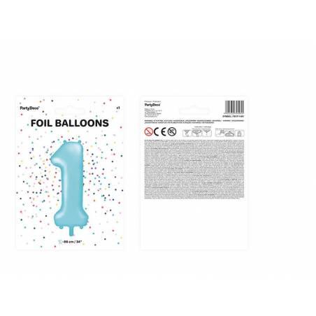 Foil Ballons Number 1 86cm bleu clair