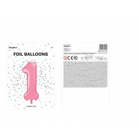 Ballon Feuille numéro 1 86cm rose