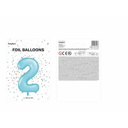 Foil Ballons Number 2 86cm bleu clair