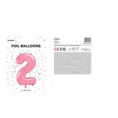 Ballon d'aluminium numéro 2 86cm rose