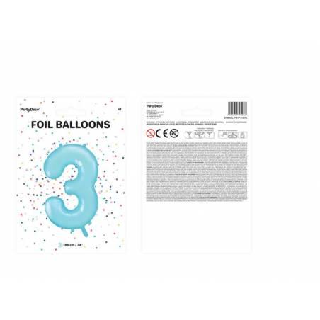 Foil Ballons Number 3 86cm bleu clair