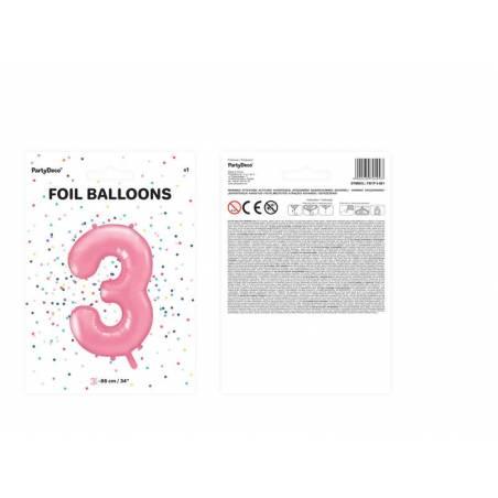 Ballon d'aluminium numéro 3 86cm rose