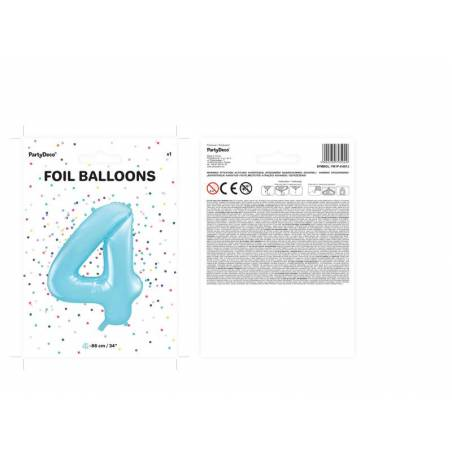 Foil Ballons Number 4 86cm bleu clair