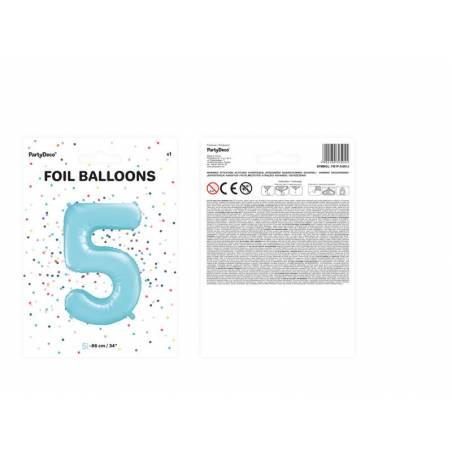 Ballon d'aluminium numéro 5 86cm bleu clair