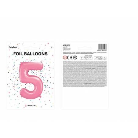 Ballon d'aluminium numéro 5 86cm rose