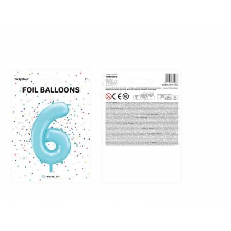 Foil Ballons Number 6 86cm bleu clair