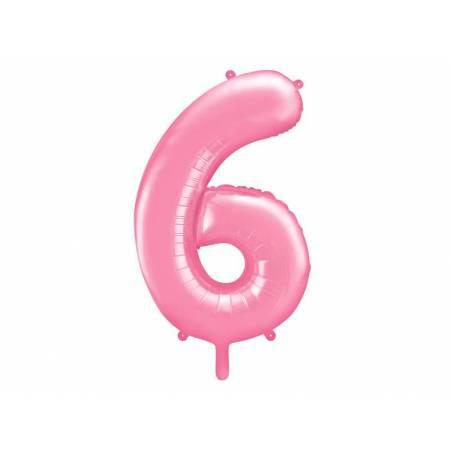 Ballon d'aluminium numéro 6 86cm rose