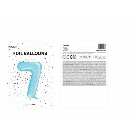 Foil Ballons Number 7 86cm bleu clair
