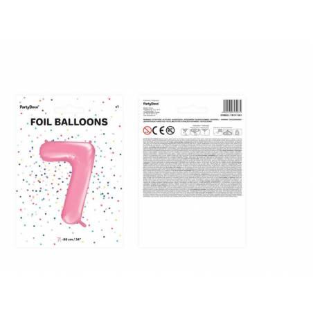Ballon d'aluminium numéro 7 86cm rose