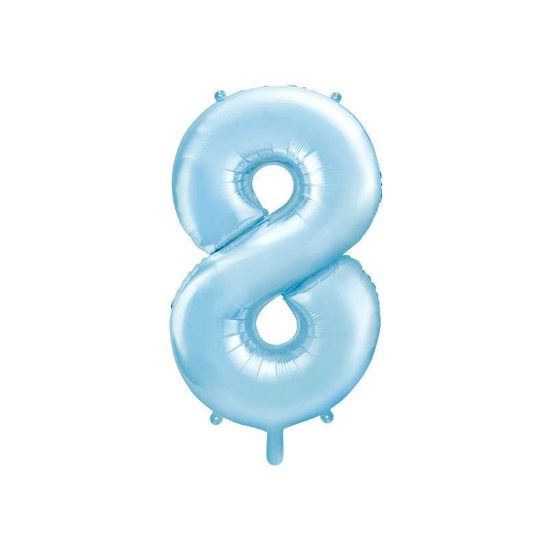 Foil Ballons Number 8 86cm bleu clair