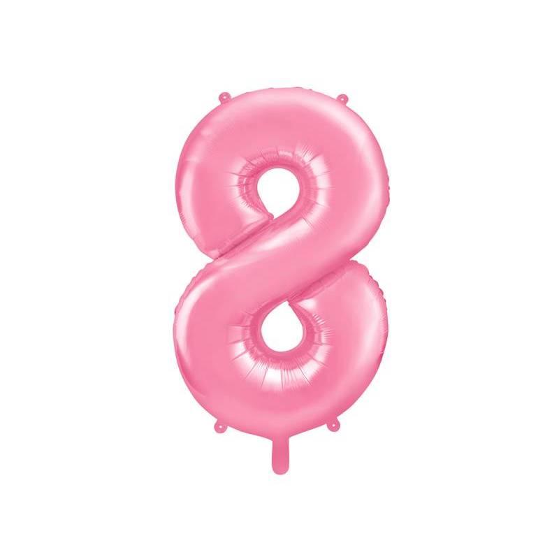 Ballon d'aluminium numéro 8 86cm rose