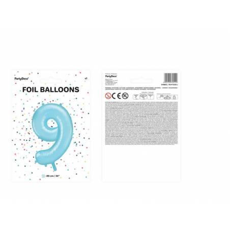 Ballon d'aluminium numéro 9 86cm bleu clair