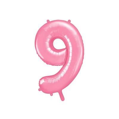 Ballon d'aluminium numéro 9 86cm rose