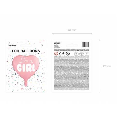 Foil Ballons Heart - C'est une fille 45cm rose pâle