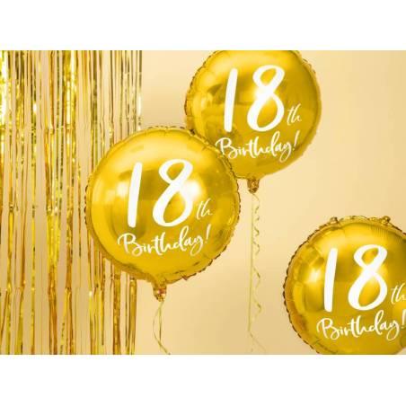 Ballon en aluminium 18e anniversaire or 45 cm