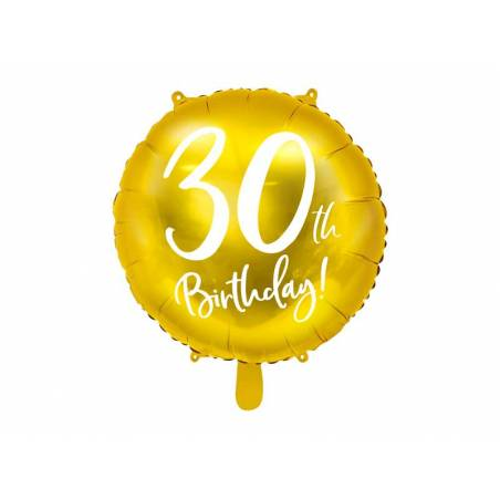 Ballon en aluminium 30e anniversaire or 45 cm