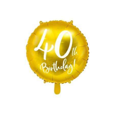 Ballon Feuille 40ème Anniversaire or 45 cm