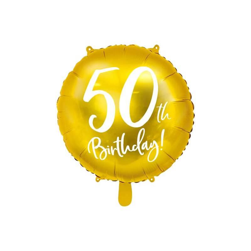 Ballon en aluminium 50e anniversaire or 45 cm