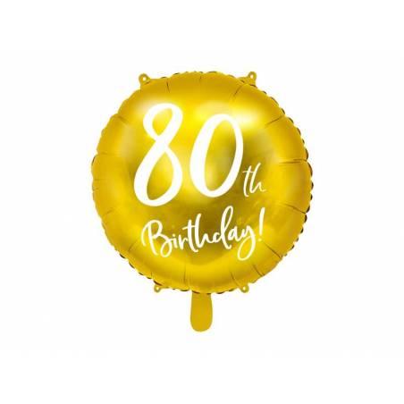 Ballon Feuille 80ème Anniversaire or 45cm