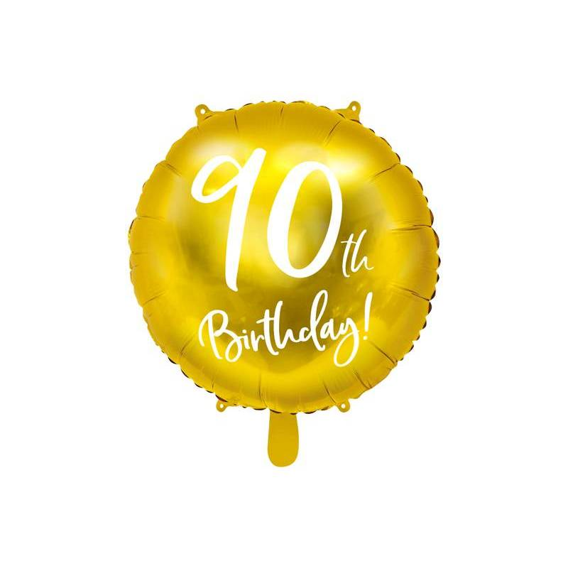Ballon Feuille 90ème Anniversaire or 45cm