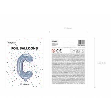 Ballon en aluminium lettre C 35cm holographique