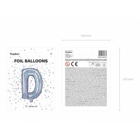 Ballon en aluminium lettre D 35cm holographique