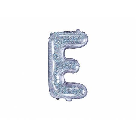 Ballon en aluminium lettre E 35cm holographique