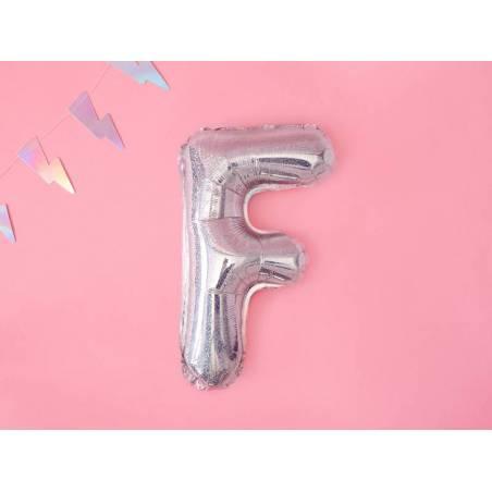 Ballon en aluminium lettre F 35cm holographique