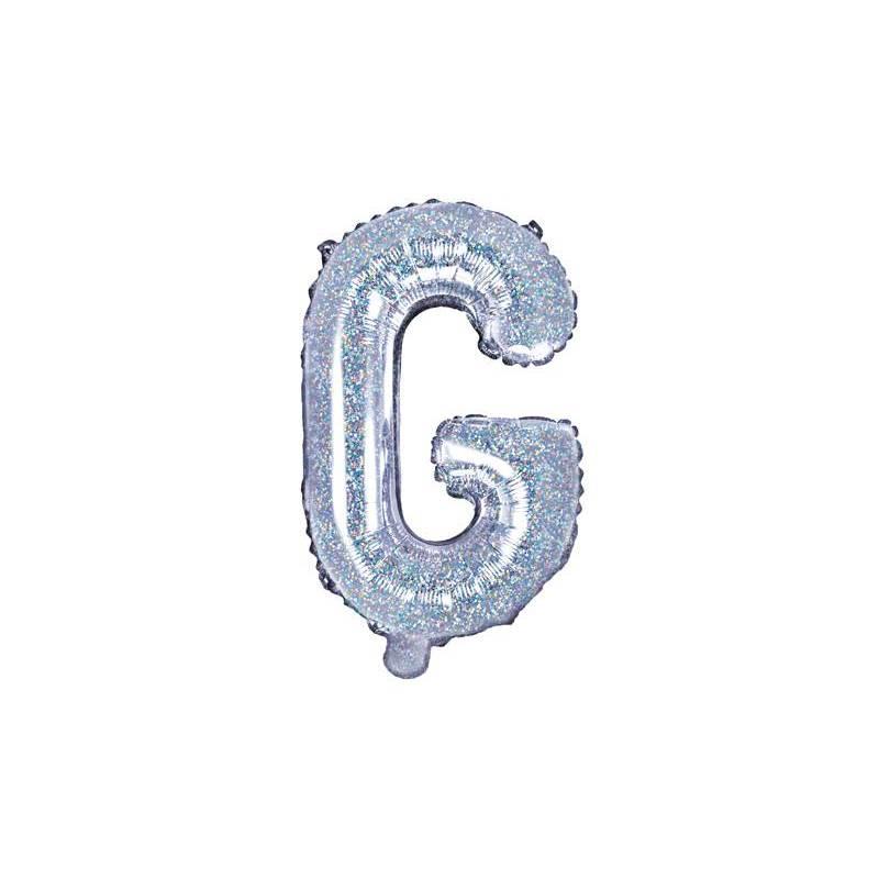 Ballon en aluminium lettre G 35cm holographique