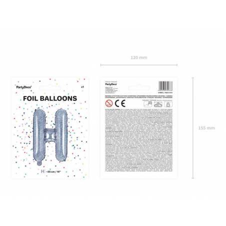 Ballon en aluminium lettre H 35cm holographique