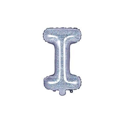 Ballon en aluminium lettre I 35cm holographique