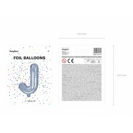 Ballon en aluminium lettre J 35cm holographique
