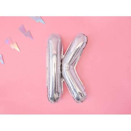 Ballon en aluminium lettre K 35cm holographique