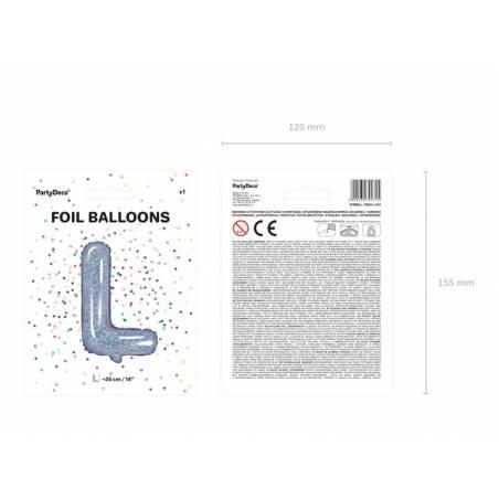 Ballon en aluminium lettre L 35cm holographique