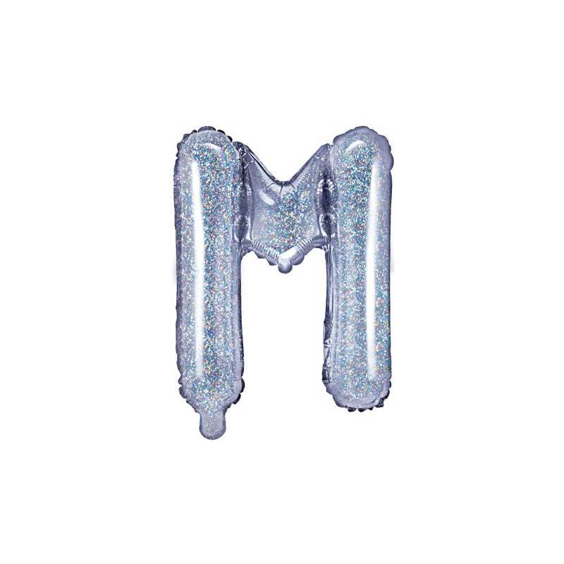 Ballon Feuille Lettre M 35cm holographique