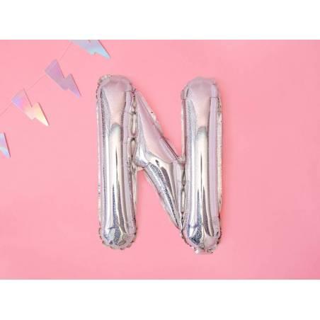 Lettre de ballon en aluminium N 35cm holographique