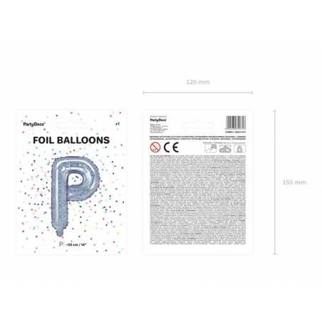 Ballon en aluminium lettre P 35cm holographique
