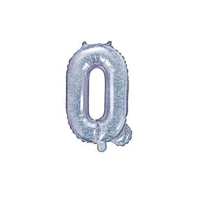 Ballon en aluminium lettre Q 35cm holographique