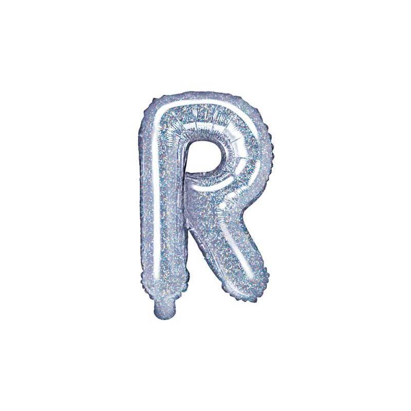 Ballon en aluminium lettre R 35cm holographique