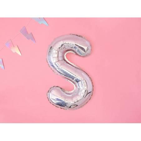 Ballon Feuille Lettre S 35cm holographique